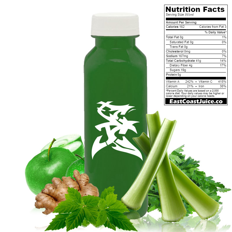 Cold pressed juice, Poor Man's Ginseng, gynostemma, jiaogulan, parsley, cilantro, celery, apple, ginger, ampk