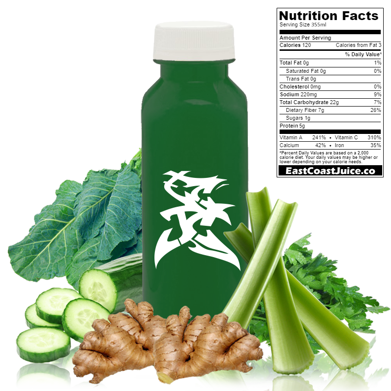 cold pressed Juice, Iron Girl, collard greens, celery, lemon, cucumber, parsley, brassica oleracea, CYP1A2