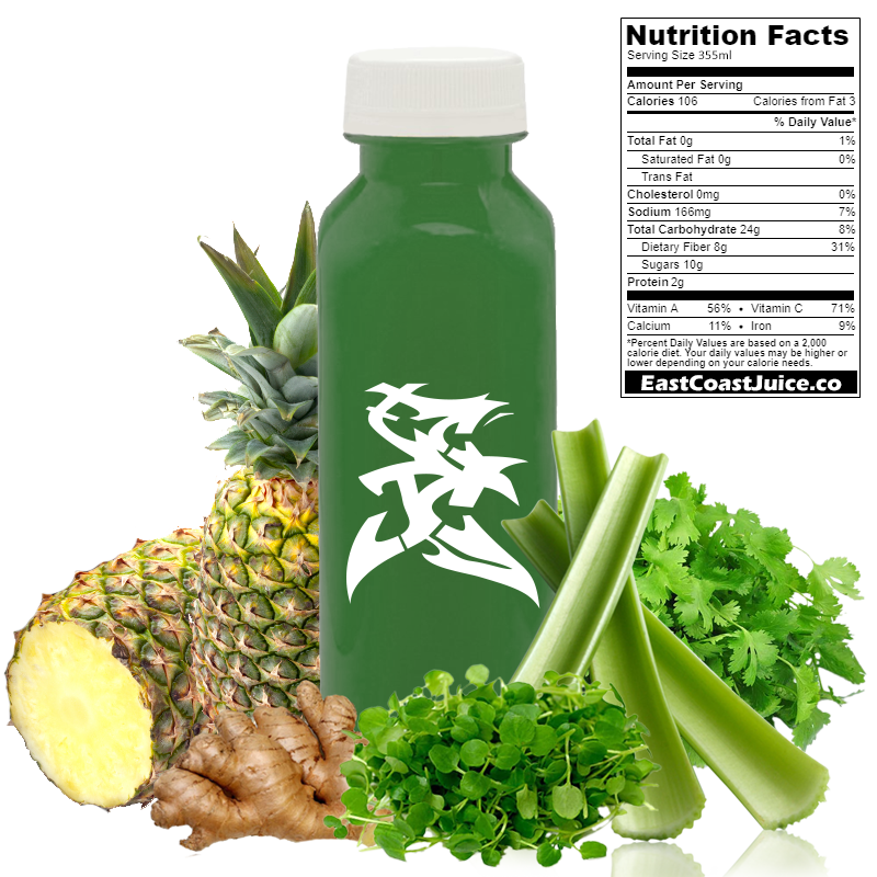 cold pressed Juice, Official Cress, watercress, celery, ginger, pineapple, cilantro, nasturtium officinale, CYP1A2